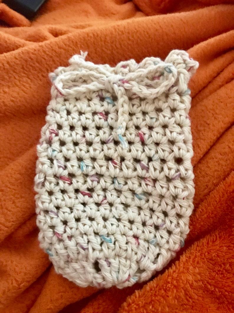 NEW-Cotton Soap Saver Bag-SALE-Crochet-PLUS/or Charcoal image 0