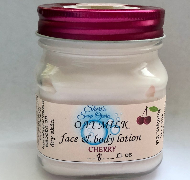 Wild Cherry Oat Milk Cream for Face and Body-Handcrafted-with image 0