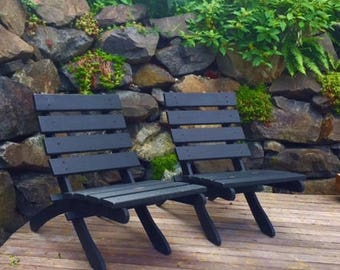 Slate Black Color on Classic Cedar Patio Chairs for Outdoor Comfort - Deck Chair - Patio Furniture - Garden Furniture - Laughing Creek