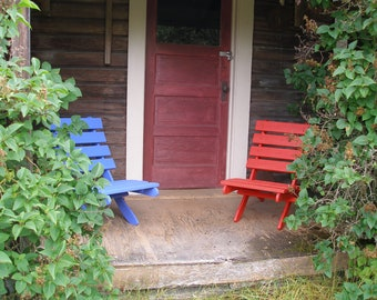 Colorful Cedar Chairs for Condo/Apartment Balcony - Great for small spaces! - Storable - 10 stain colors - Handcrafted by Laughing Creek