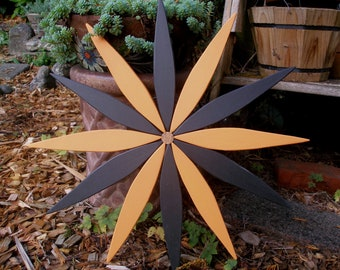 Two-Color Outdoor Starburst Wall Art (12 colors available) for Fence, Entryway, Garden Area - Handcrafted by Laughing Creek