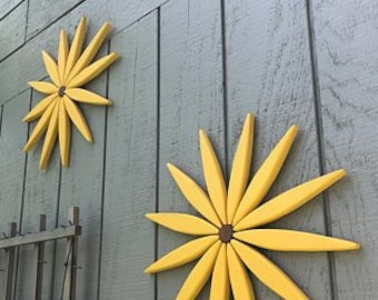 Yellow Wooden Outdoor Starburst Art Brightens Your Day! - Decor for Entryway - Garden - Fence - Walls - Outdoor Art by Laughing Creek