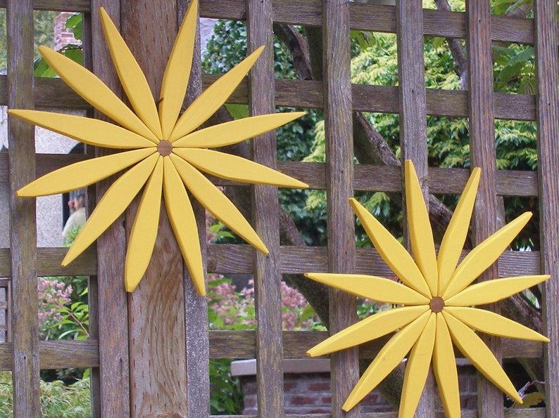Yellow Stain Color Wooden Outdoor Wall Art Brightens Your Day Decor For Entryway Garden Fence Walls Outdoor Art By Laughing Creek