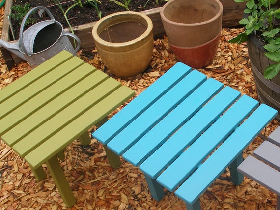 Colored wood patio furniture Plastic Image Teagrotto Square Top Wooden Side Tables End Tables Available In 16 Etsy