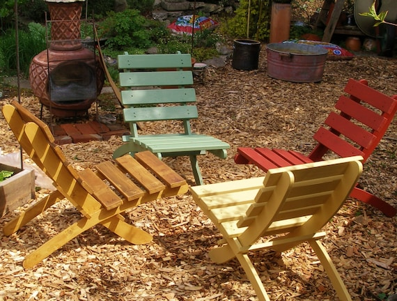 Set Of 4 Great Outdoor Chairs Comfy Storable Cedar Chairs | Etsy