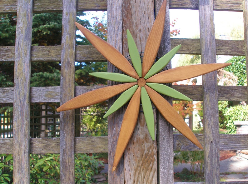 Wooden Starburst Spark Wall Art For Fence Entryway Garden Decor 16 Stain Colors To Select Outdoor Wall Art By Laughing Creek