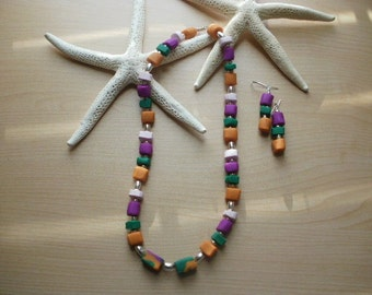 Clay Mix Necklace and Earring Set