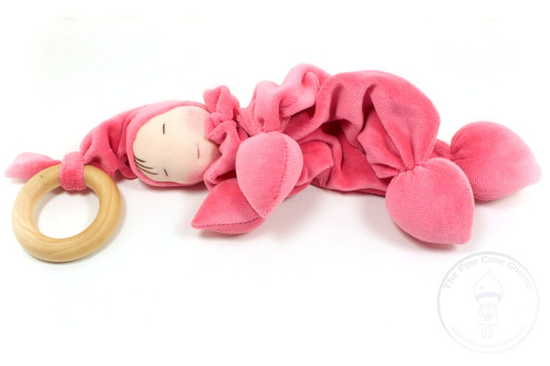 Velour Teething Gnome Doll Waldorf Natural Materials Wooden Ring Baby Toys Washable Spring Colors
