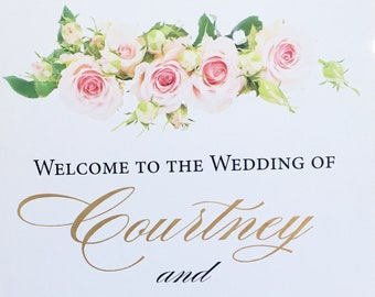 Calligraphy wedding welcome sign