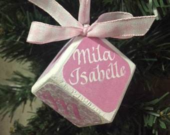 Baby girl block ornament