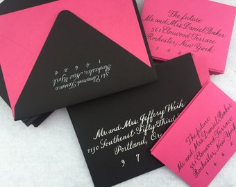 Traditional calligraphy on dark envelops wedding invitation addressing
