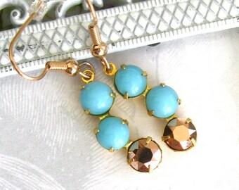 Turquoise aqua and rose gold earrings Vintage turquoise glass Swarovski rose gold crystal asymmetric aqua earrings modern dangle earrings