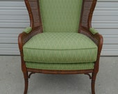 Fretwork Faux Bamboo Lounge Chair Ethan Allen Wingback small Ears Club Hollywood Regency Cane Wicker Palm Beach Boho Chinese Chippendale