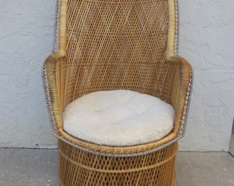 Wicker Peacock Chair Double Rattan Hollywood Regency Bamboo Palm Beach  Cottage Boho Tomantic Victorian Coastal Tropical