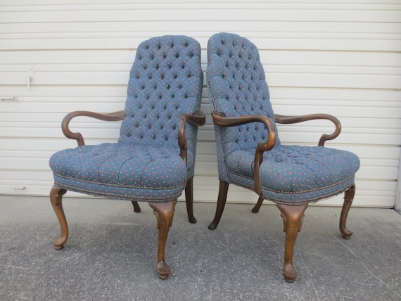 2 Oor Fauteuils.Pair Arm Chairs Goose Neck French Country 2 Library Fauteuil Hollywood Regency Captain Queen Anne Parlor Boudoir Italian Provincial