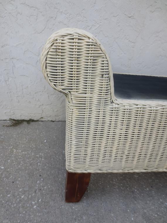 Pleasing Wicker Bench Rattan Tropical Cottage Bed End Seat Stool White Coastal Beach Key Tropical Rattan White Creativecarmelina Interior Chair Design Creativecarmelinacom