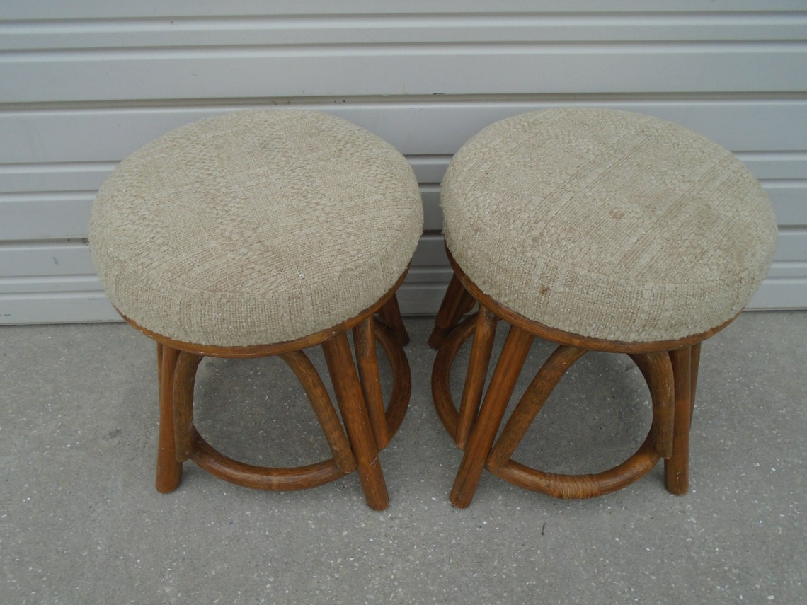 Bamboo PAIR Vanity Stools Low chairs Bench 2 Hollywood Regency 2 for Console table Palm Beach Swivel Cottage Coastal