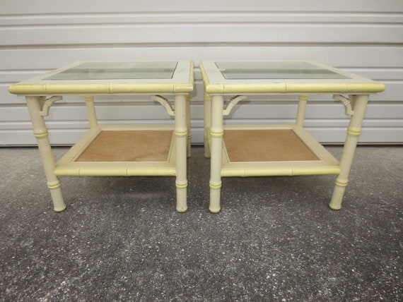 Sm Pair Fretwork Faux Bamboo End Tables 2 Hollywood Regency Chinese Chippendale Side Palm Beach Boho Cane Cottage Shabby Chic Coastal