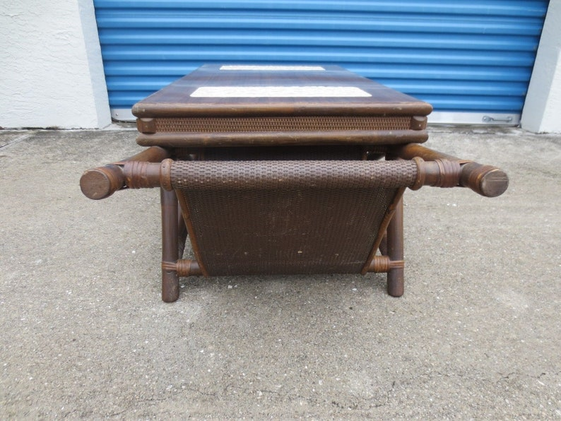 Funky Fretwork Bamboo Coffee Table Hollywood Regency Mid-century Modern Palm Beach Rattan Chinese Chippendale MCM Retro