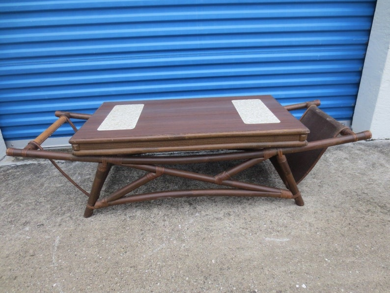 Fretwork Coffee Table.Funky Fretwork Bamboo Coffee Table Hollywood Regency Mid Century Modern Palm Beach Rattan Chinese Chippendale Mcm Retro