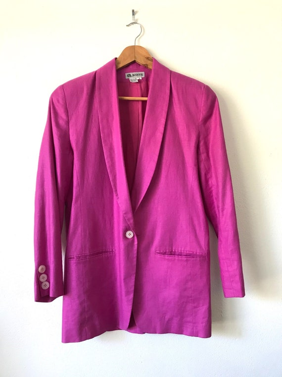 1980s Hot Pink Linen Blazer