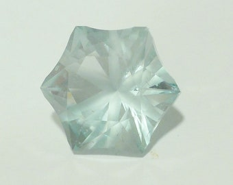 Light Blue Faceted Synthetic Quartz, expertly cut by Gary Statton