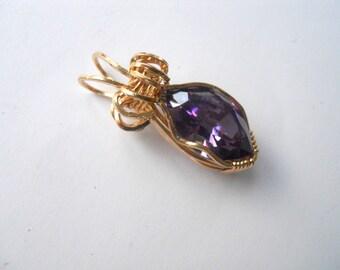 12 carat Amethyst CZ wrapped in 14kt GF wire Pendant