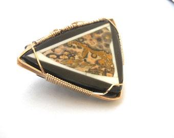 Triangular Intarsia Brooch with Leopard Skin Jasper Center