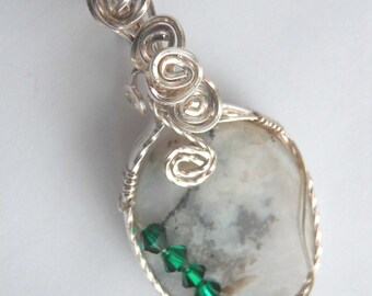 Dendritic Agate with Druzy and Green Swarovski Crystals