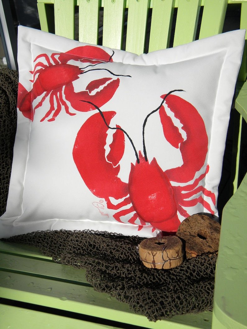 Outdoor pillow BIG LOBSTER, LITTLE lobster 20x20 (50cm) coastal lobstah red  crustacea gourmand chef nautical seafood marine Crabby Chris