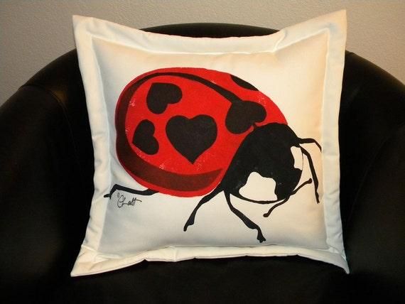 Outdoor pillow Valentine Edition Ladybird Beetle 20   Etsy