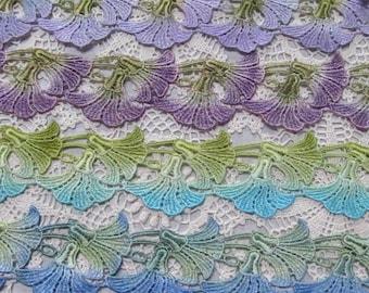 Morning Glory Lace, Lace Flower,  Hand Dyed Venise Lace, Lace Applique, Lace Trim, Crazy Quilt, Scrap Book Supplies