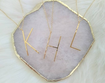 Large Gold Hammered Letter Necklace, Name Necklace, Initial Jewelry, Personalized Necklace