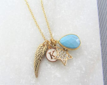Personalised Gold Charm Necklace, Personalized Star Necklace, Gemstone Necklace, Angel Wing, Initial Letter, Gifts for Her, Layering