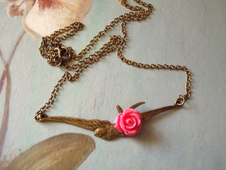 Vintage Necklace Gift for Her Bronze Flying Bird Necklace Bird Pendant with Pink Rose Necklace