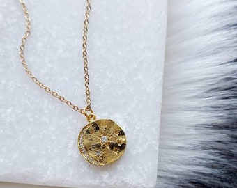 Gold Star and Moon Coin, Gold Moon Necklace, Layering Necklace, Moon Celestial Necklace, Gold Coin Necklace,
