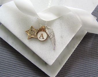Angel Wing Necklace Star and Initial Pendant, Personalized Gift, Gift for Mom, Silver Wings Necklace
