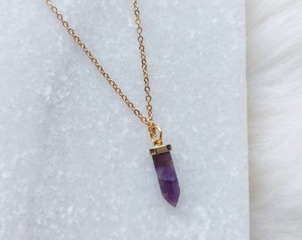 Small Amethyst Stone Spike Necklace, Delicate Gemstone necklace, Everyday Simple Necklace, Gold Necklace, Layering Necklace