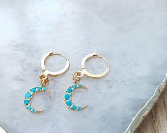 Gold Moon Hoop Earrings, Hoop Earrings Hinged Huggie Earrings, Turquoise Moon Earrings, Small Hoop Earrings, Gold Hoops, Boho Earrings
