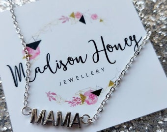 Silver MAMA Necklace, Mom Necklace, Delicate Silver Necklace, Word Necklace, New Mom Gift, Mothers Day, New Baby Gift