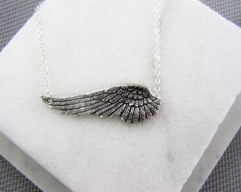 Birthday Gift for Her, Angel Wing Necklace, Angel Wing Necklace, Mothers Day Gift, Necklace, Silver Statement Feather, Feather Necklace
