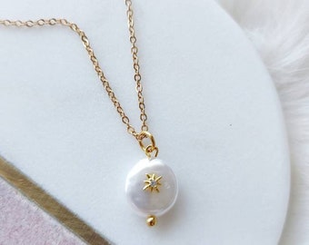 Pearl Opal Star Pendant Necklace, Mother's Day Gift, Gold Star Necklace, Layering Necklace, Celestial Necklace