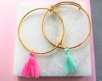 Gold Tassel Bangle Bracelet, Pink Tassel Bracelet, Green Tassel Bracelet,Adjustatble Bracelet, Stacking Bangle Bracelets, Gift for Her