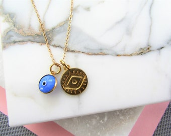 Evil Eye Necklace, Gold Coin Necklace, Layering Necklace, Bridesmaids Gifts, Good Luck Charms, Charm Necklace, Gift for Her, Gold Necklace
