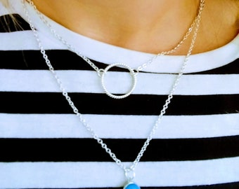 Silver Layering Necklace, Multi Strand Necklace, Modern Jewelry, Bridesmaids Gifts, Gift for Her, Evil Eye, Eternity Necklace, Necklace