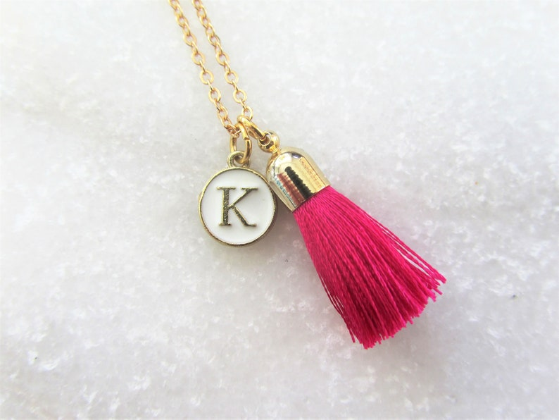 Tassel Necklace Personalized Necklace Pink Tassel Pendant and Initial Letter Charm Necklace