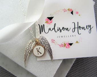 Personalized Angel Wing Necklace Gift, Gift for Her, Birthday Gift for Her, Mothers Day Gift, Personalized Gift, Silver Angel Wing Necklace
