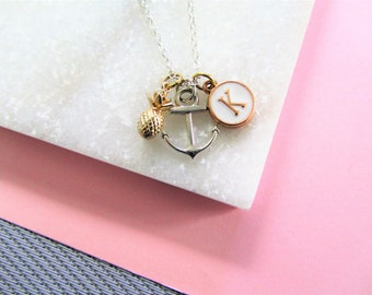 Pineapple Anchor and Initial Pendant Necklace, Silver Anchor Necklace, Gold Pineapple Necklace, Personalized  Necklace, Gift for Her
