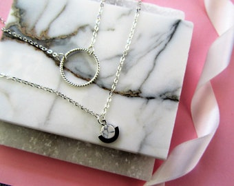Layering Necklace, Silver Charm Necklace Eternity Charm Necklace, Bridesmaids Gifts, Geometric Marble Charm Necklace, Birthday Gift for Her