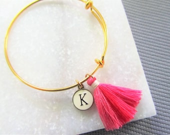Personalized Gold Tassel Bangle Bracelet, Pink Tassel Bracelet, Adjustable Bangle Bracelet, Jewelry, Stacking Bangles, Gift for Her